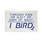Through Rain or Sleet... I Bird Rectangle Magnet