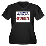 AMIYA for queen Women's Plus Size V-Neck Dark T-Sh