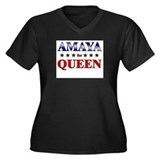 AMAYA for queen Women's Plus Size V-Neck Dark T-Sh