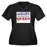 AMARA for queen Women's Plus Size V-Neck Dark T-Sh