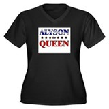 ALYSON for queen Women's Plus Size V-Neck Dark T-S