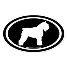Bouvier Oval Sticker (white on black) (Oval)