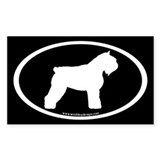 Bouvier Oval (white on blk) Rectangle Decal