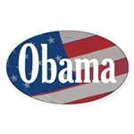 Obama American Flag Oval Bumper Sticker