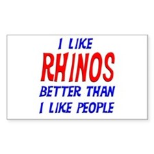 I Like Rhinos Rectangle Decal