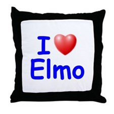 I Love Elmo (Blue) Throw Pillow