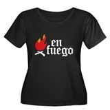En Fuego Women's Plus Size Scoop Neck Dark T-Shirt
