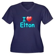 I Love Elton (Lt Blue) Women's Plus Size V-Neck Da