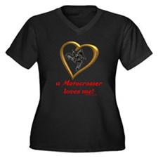 """A Motocrosser Loves Me"" Women's Plus Size V-Neck"