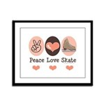Peace Love Skate Ice Skating Framed Panel Print
