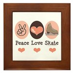 Peace Love Skate Ice Skating Framed Tile