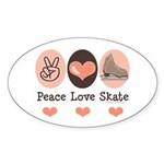 Peace Love Skate Ice Skating Oval Sticker