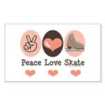 Peace Love Skate Ice Skating Rectangle Sticker
