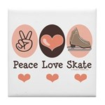 Peace Love Skate Ice Skating Tile Coaster
