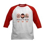 Peace Love Skate Ice Skating Kids Baseball Jersey