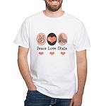 Peace Love Skate Ice Skating White T-Shirt