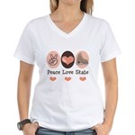 Peace Love Skate Ice Skating Women's V-Neck T-Shir