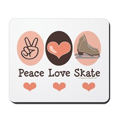 Peace Love Skate Ice Skating Mousepad