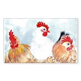 Three Hens Rectangle Decal