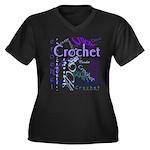 Crochet Purple Women's Plus Size V-Neck Dark T-Shi