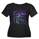 Crochet Purple Women's Plus Size Scoop Neck Dark T