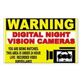 Warning Night Vision Rectangle Decal