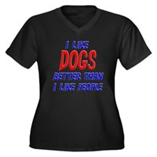 I Like Dogs Women's Plus Size V-Neck Dark T-Shirt