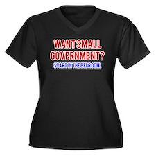 Small Government Women's Plus Size V-Neck Dark T-S