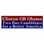 Clinton OR Obama bumper sticker