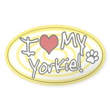 Hypno I Love My Yorkie Oval Sticker Ylw