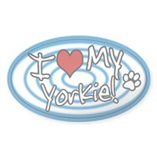 Hypno I Love My Yorkie Oval Sticker Blue