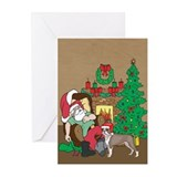 Santa Has A Boston Terrier Christmas Greeting Card