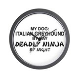Italian Greyhound Deadly Ninja Wall Clock