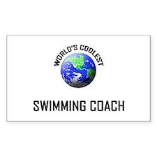 World's Coolest SWIMMING COACH Sticker (Rectangula