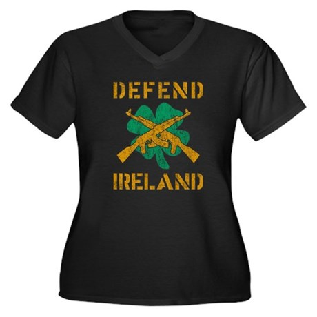 Defend Ireland Womens Plus Size V-Neck Dark T-Shi