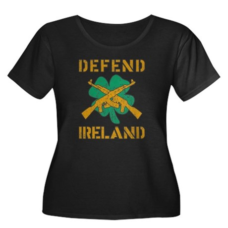Defend Ireland Womens Plus Size Scoop Neck Dark T