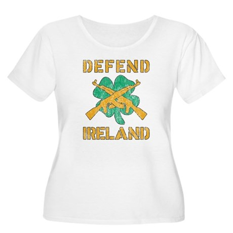 Defend Ireland Womens Plus Size Scoop Neck T-Shir