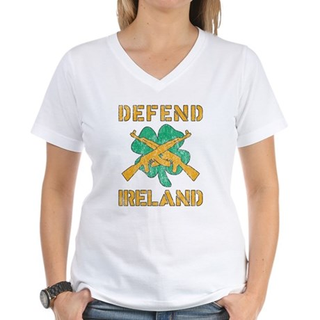 Defend Ireland Womens V-Neck T-Shirt