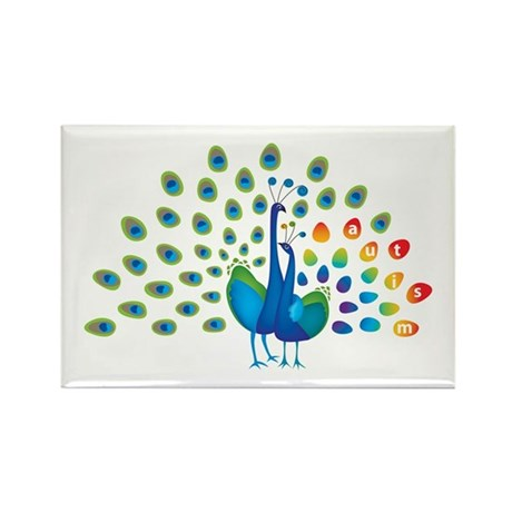 Autism Peacock Rectangle Magnet