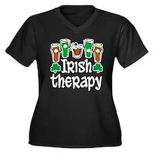 Irish Therapy Women's Plus Size V-Neck Dark T-Shir