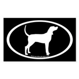 Coonhound #2 Oval(wh on blk) Rectangle Decal