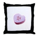 Biohazard Candy Heart Throw Pillow