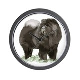 black chow portrait Wall Clock