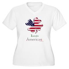 Irish American Shamrock Women's Plus Size V-Neck T