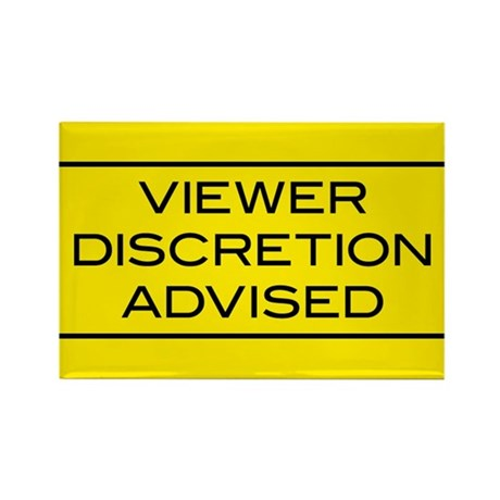 Viewer Discretion Advised Rectangle Magnet (100 pa