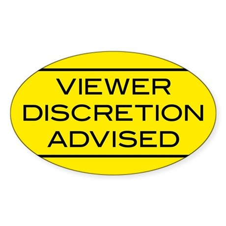 Viewer Discretion Advised Oval Sticker