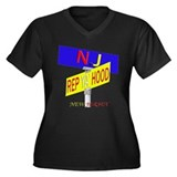 REP N.J Women's Plus Size V-Neck Dark T-Shirt
