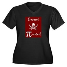 Pi-Rates! Women's Plus Size V-Neck Dark T-Shirt