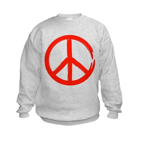 Red Peace sign Kids Sweatshirt
