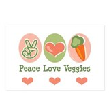 Peace Love Veggies Vegan Postcards (Package of 8)